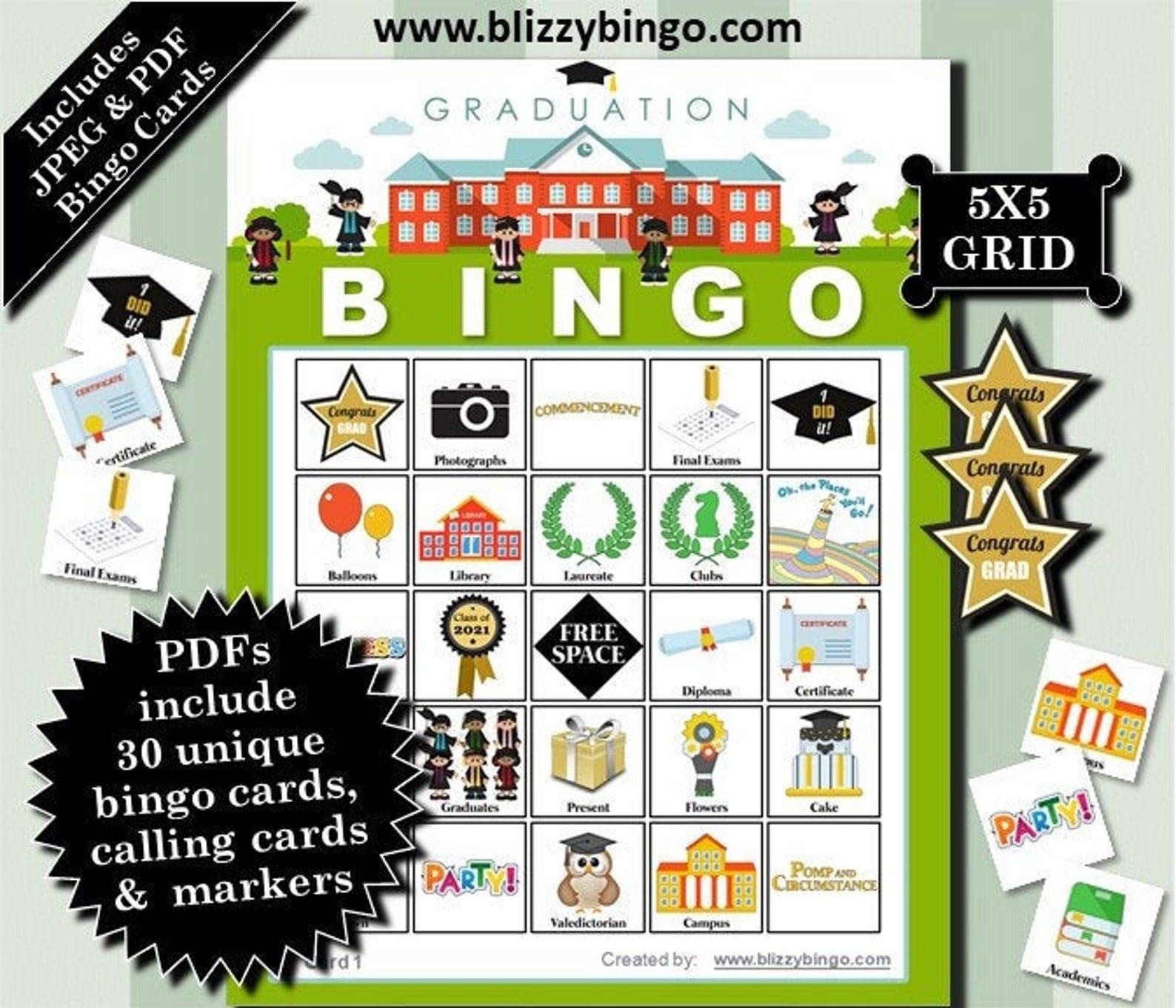 graduation bingo cards