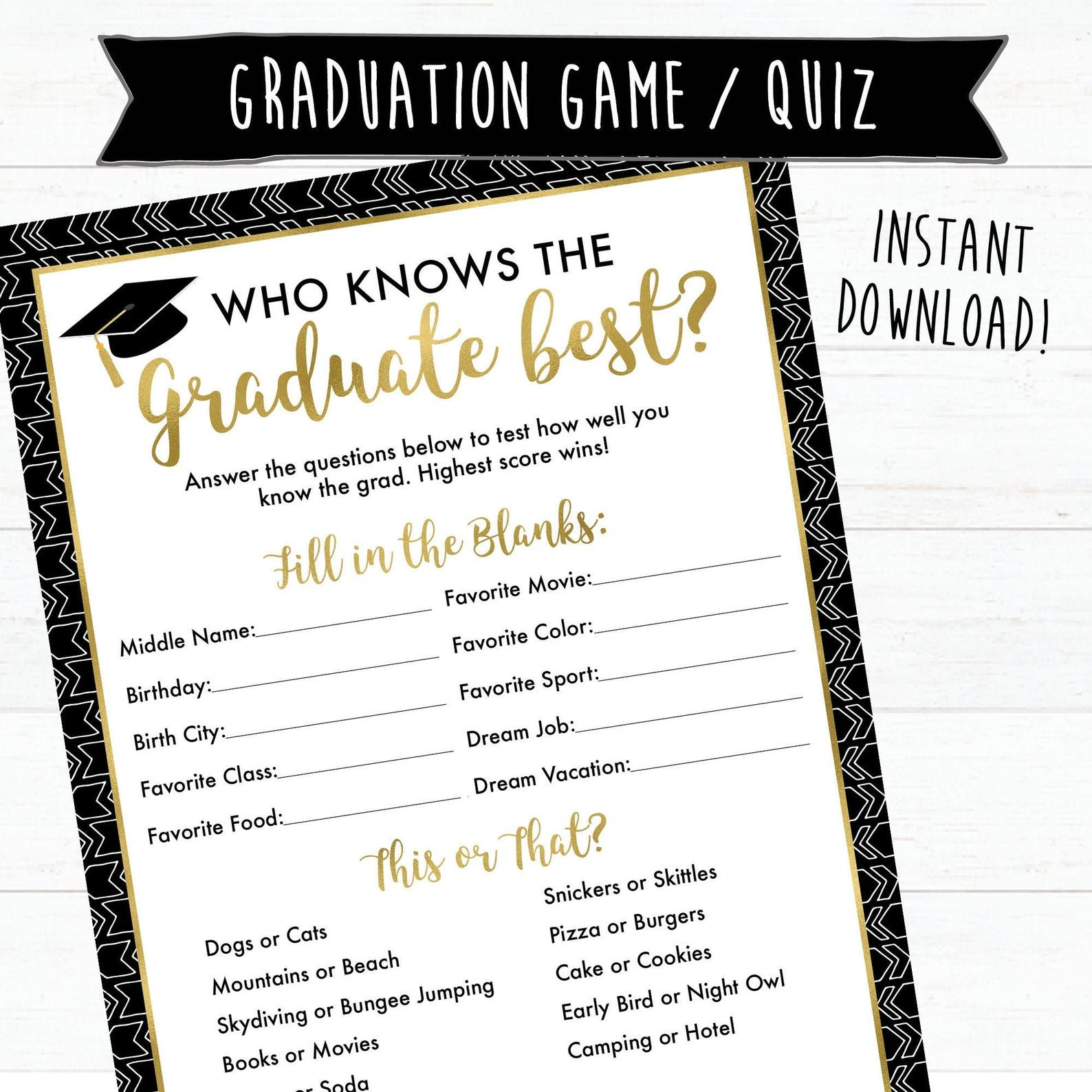 who knows the graduate best printable game