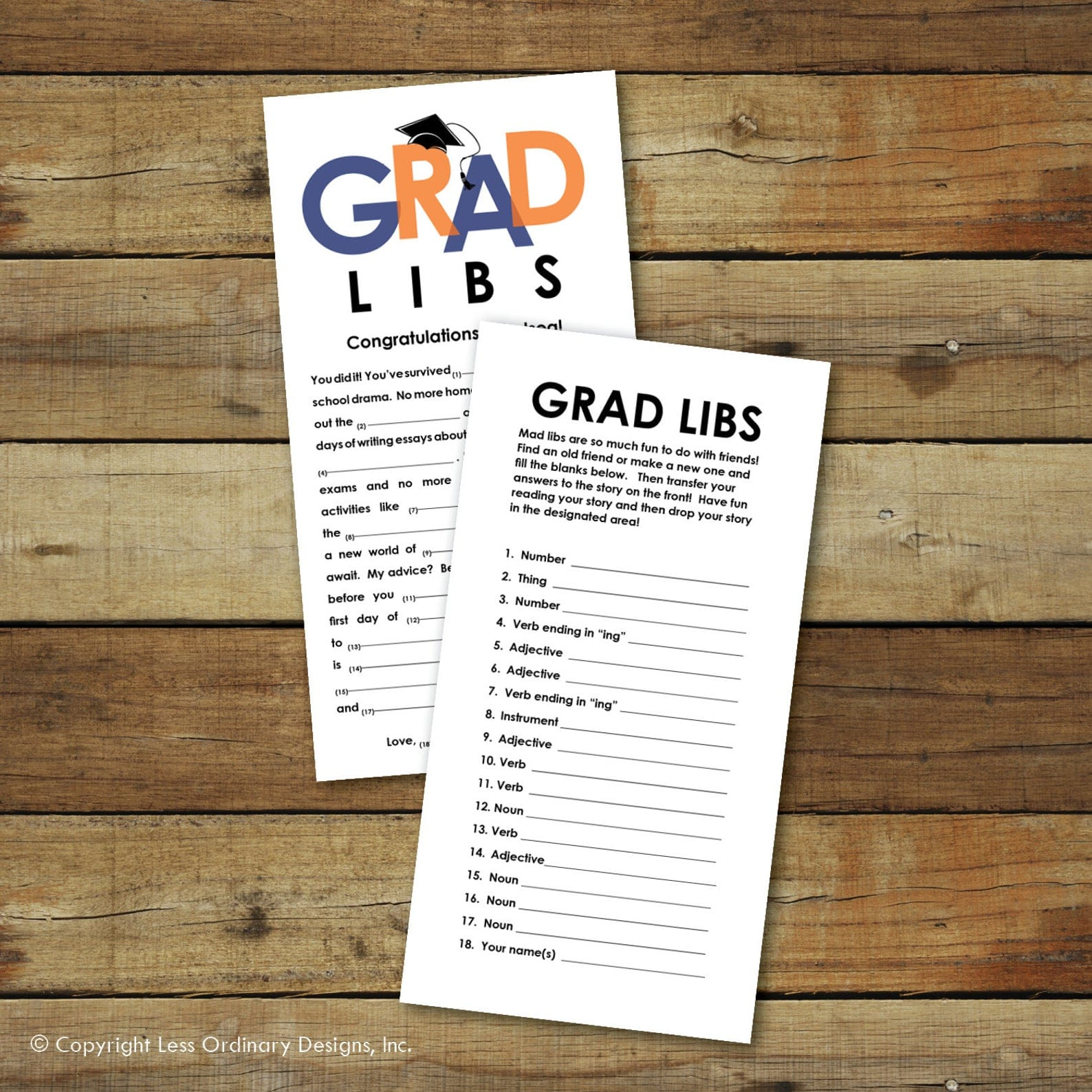 Graduation mad libs on white paper