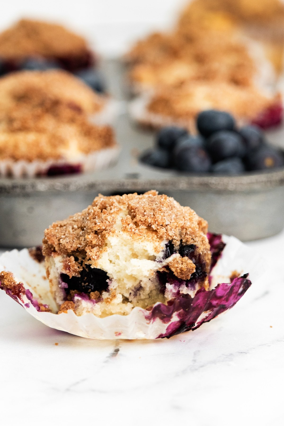 Lemon blueberry muffin in a wrapper