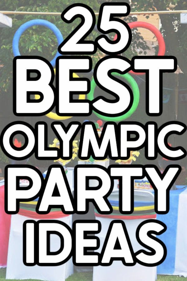 Olympic themed party table with a text overlay