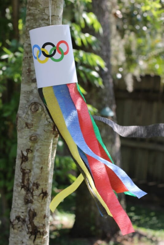 Wind sock with colored tissue paper flying in the wind