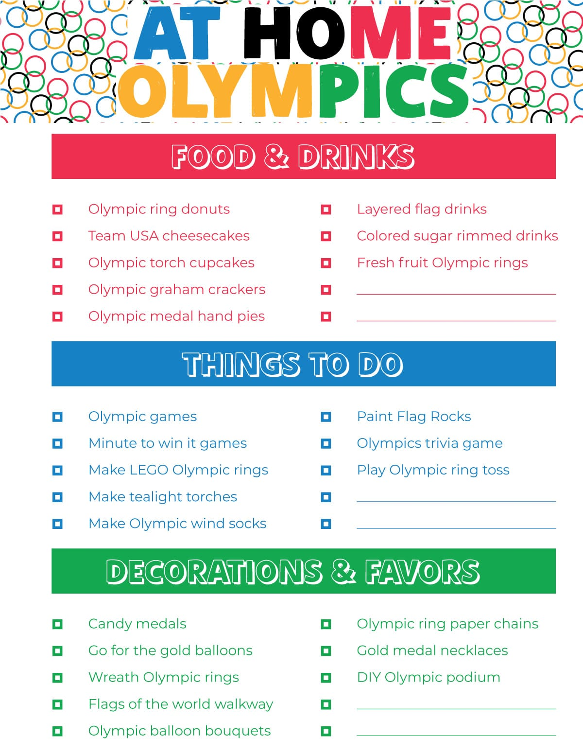 At home Olympics paper with ideas for an Olympic themed party