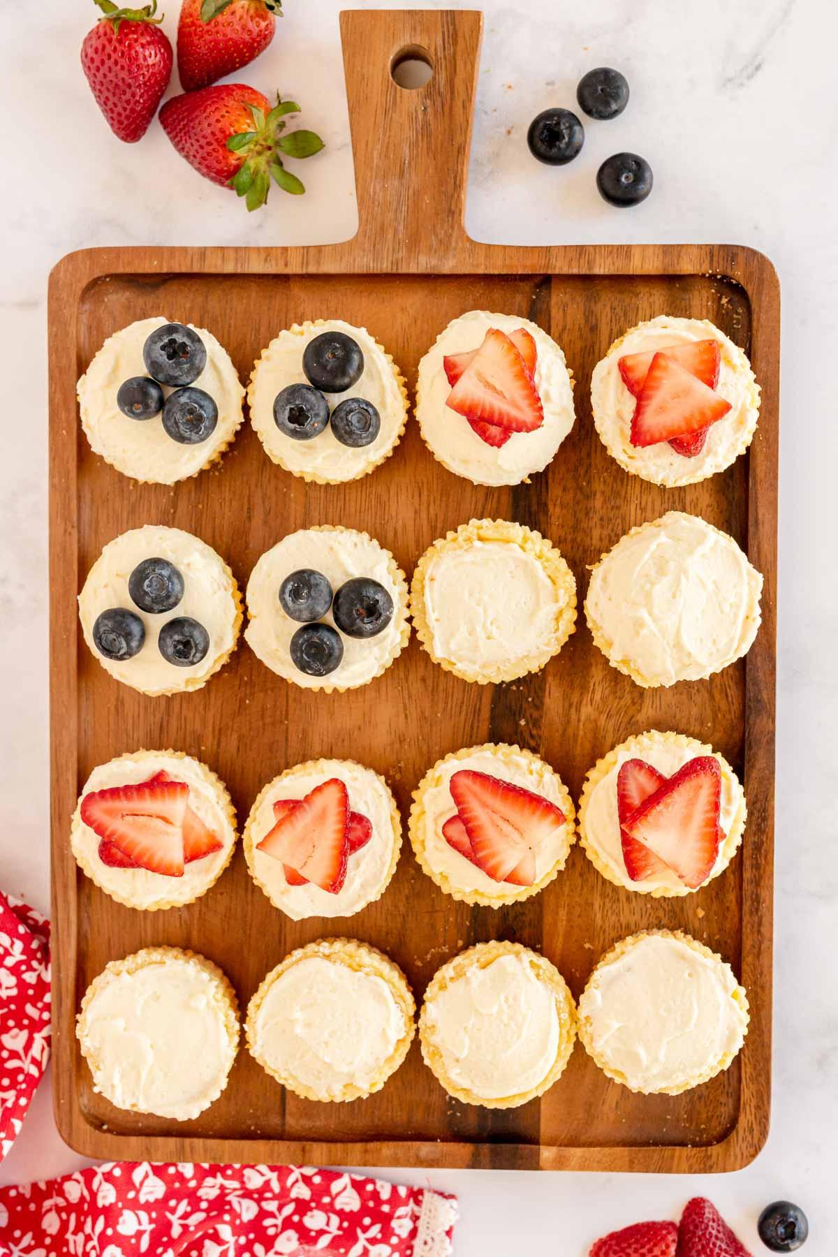 mini 4th of July cheesecake on a cutting board