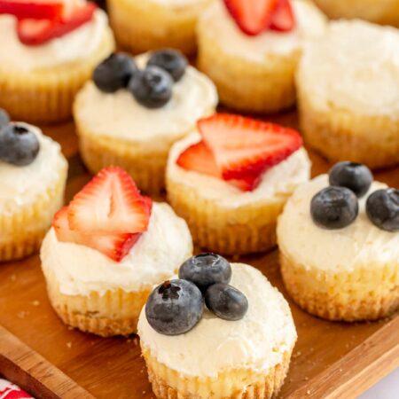 mini cheesecakes on a cutting board