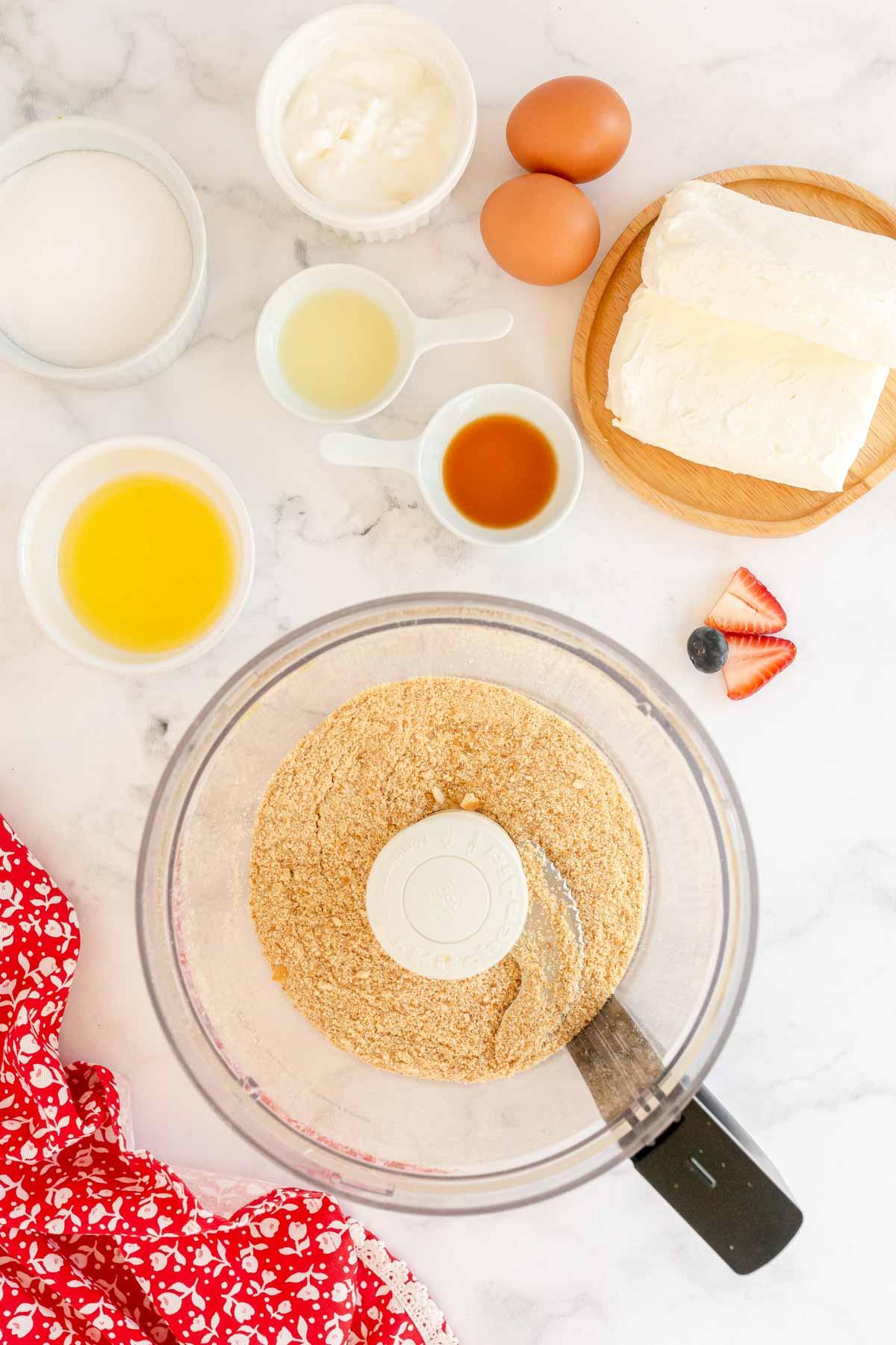 Vanilla Wafer crumbs in a food processor