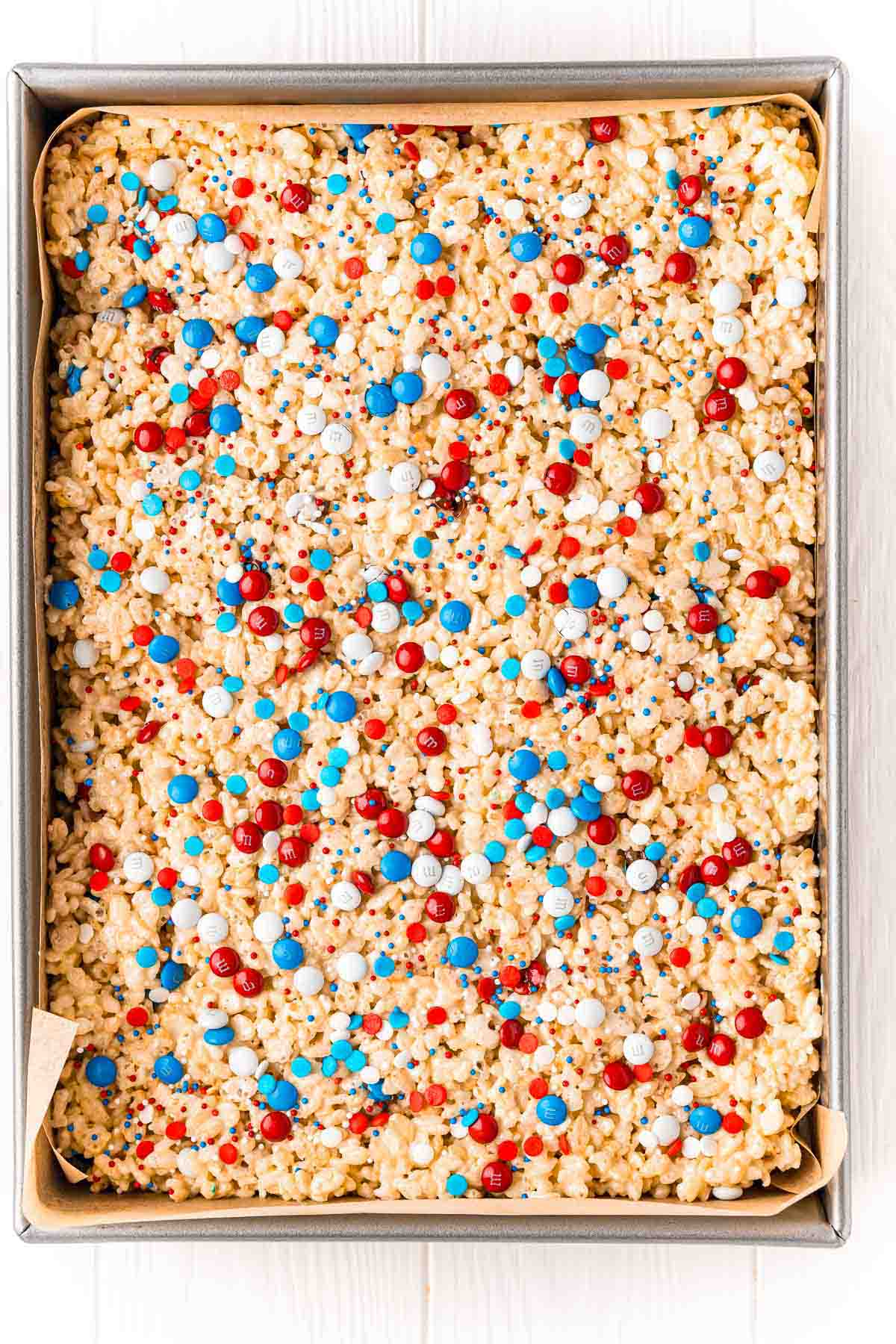 baking dish with 4th of July rice krispie treats inside