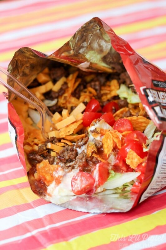 Chips and toppings in a Fritos bag