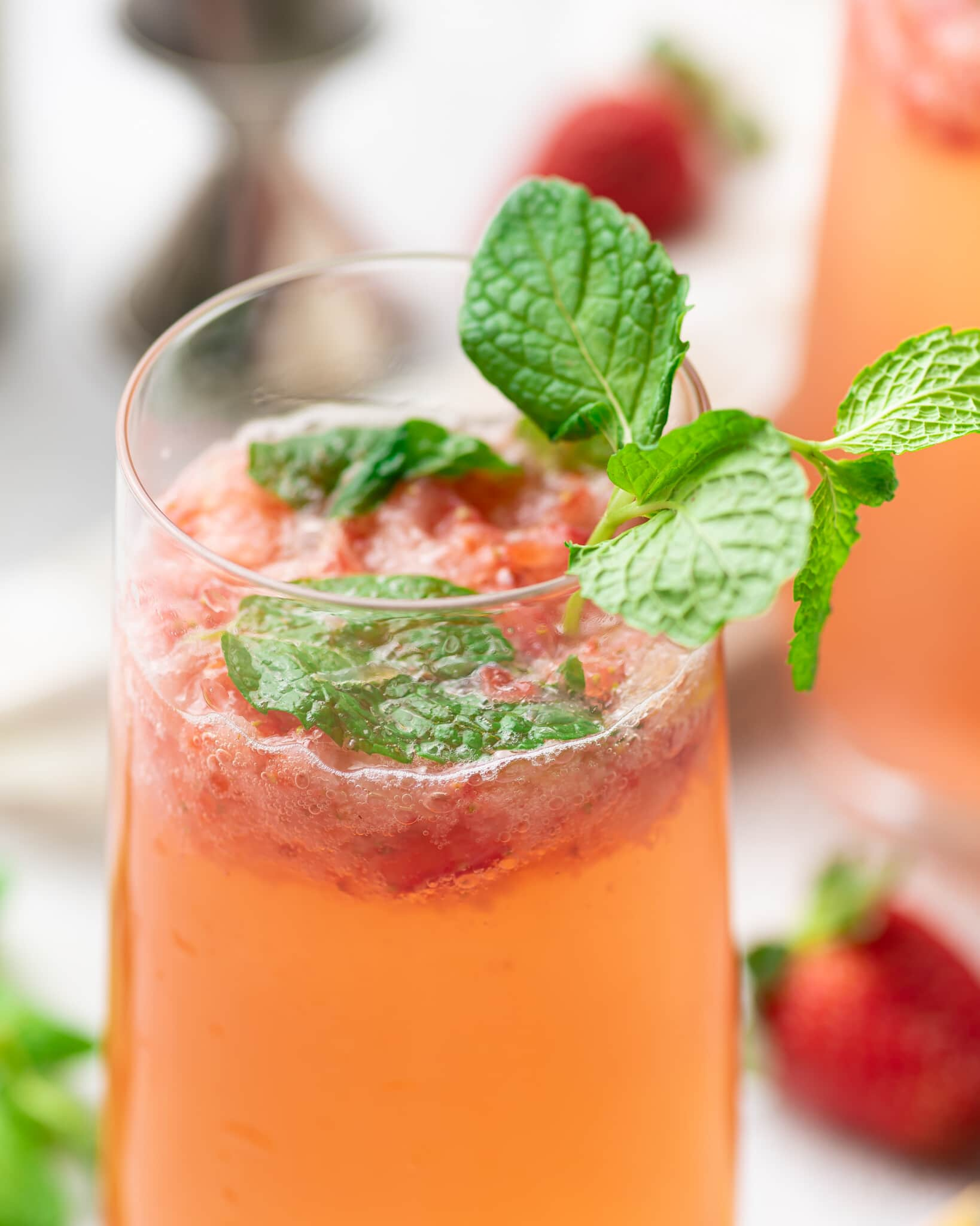 Close up of the top of a strawberry mojito