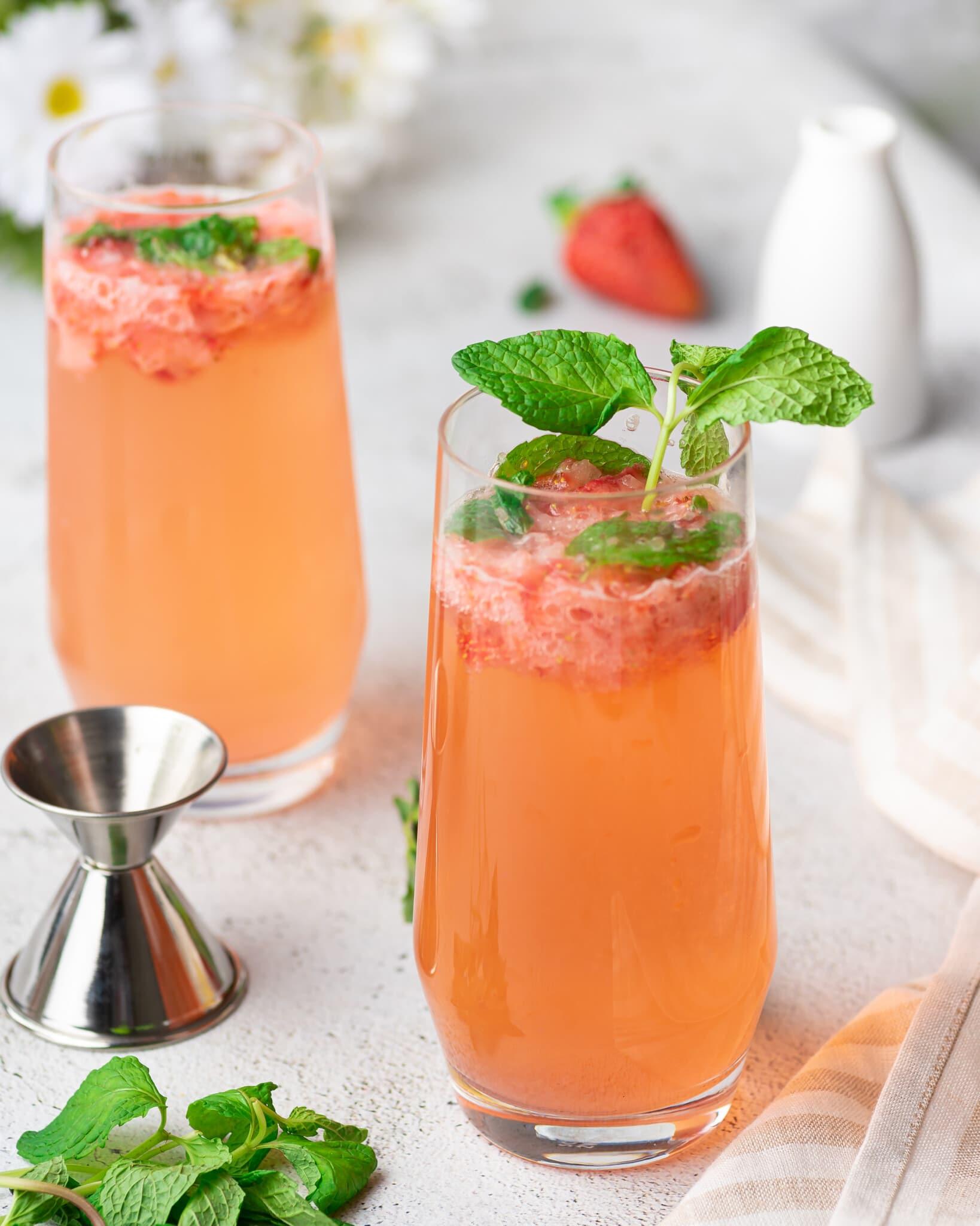 A glass of strawberry mojito mocktail