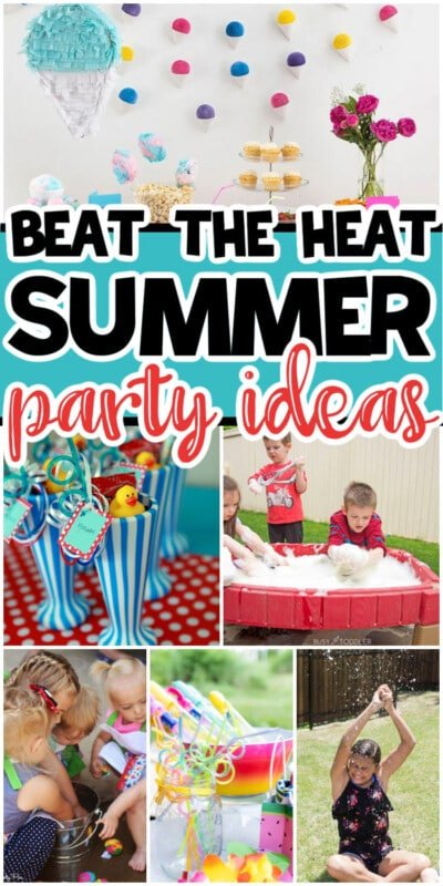 Summer party photos in a collage with text