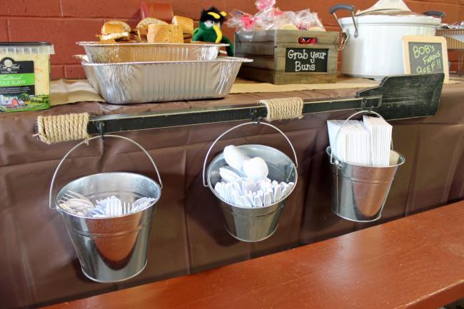 Tin buckets with plastic silverware