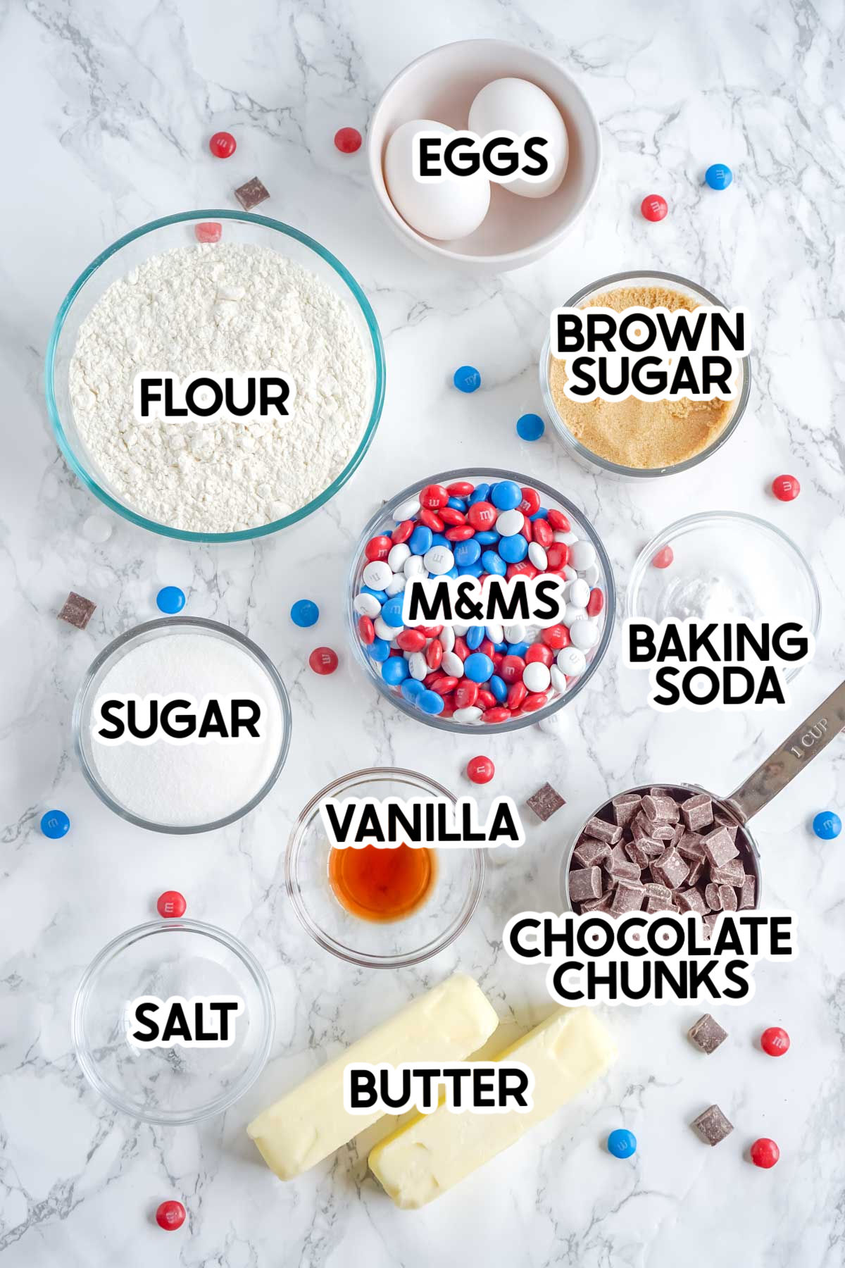 ingredients for chocolate chip M&M cookies with labels