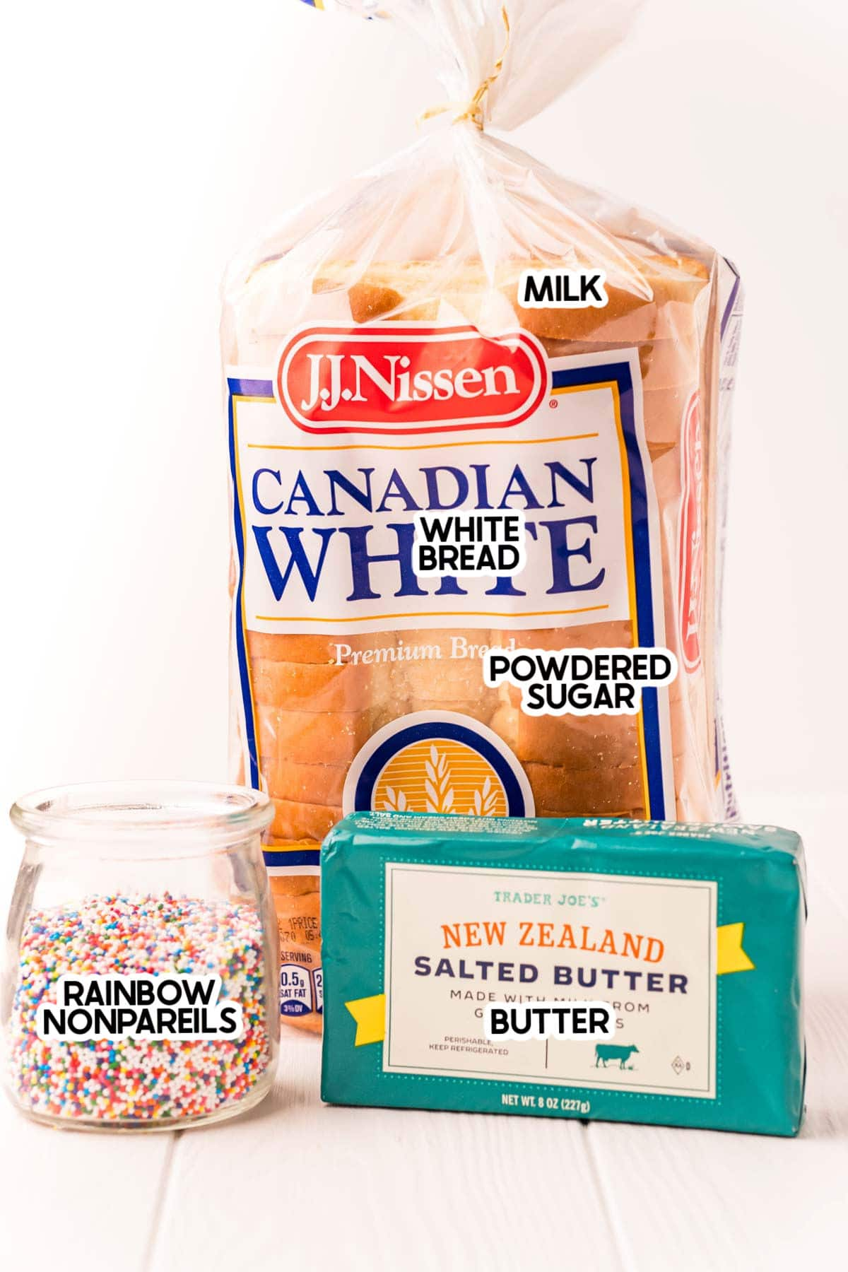 ingredients for fairy bread with labels