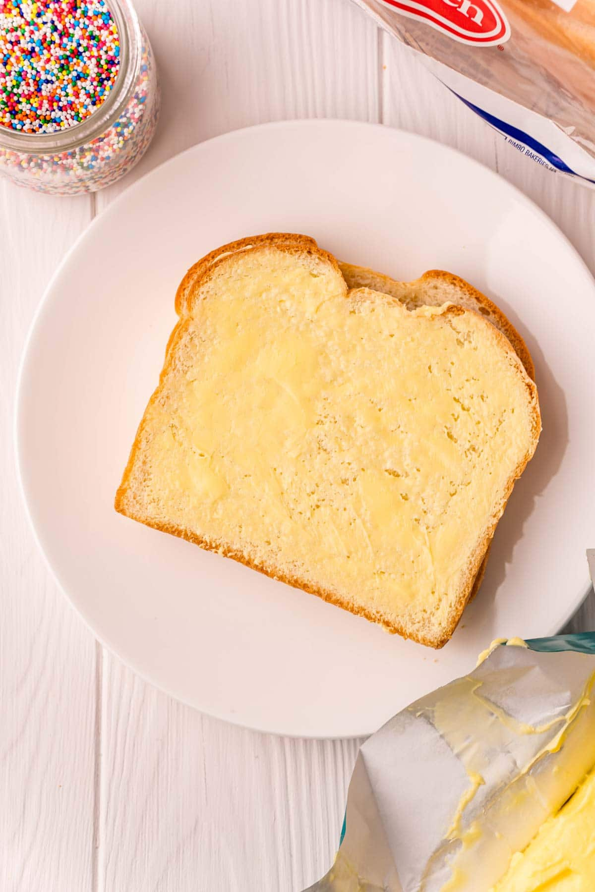 piece of bread with butter