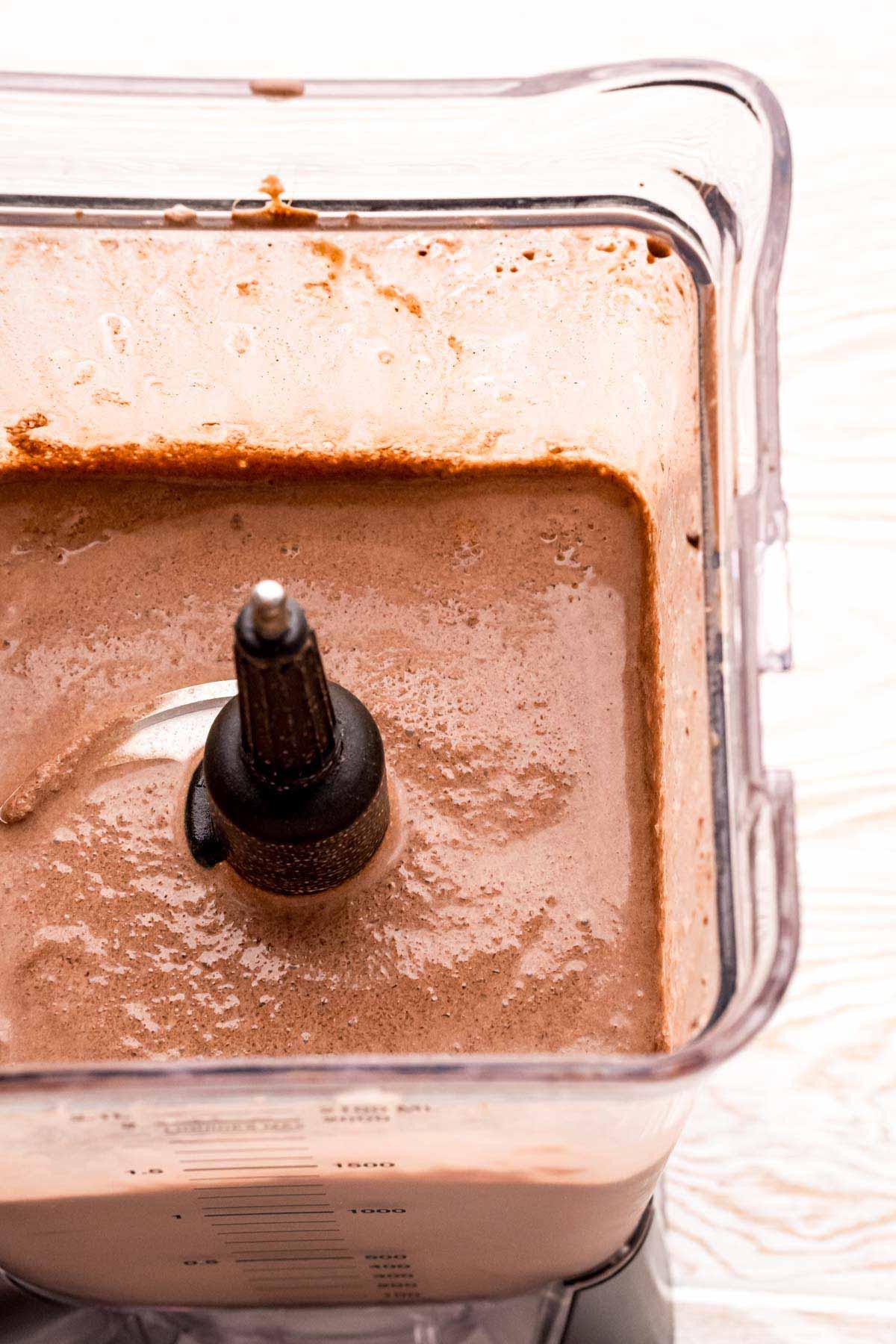 frozen hot chocolate in a blender