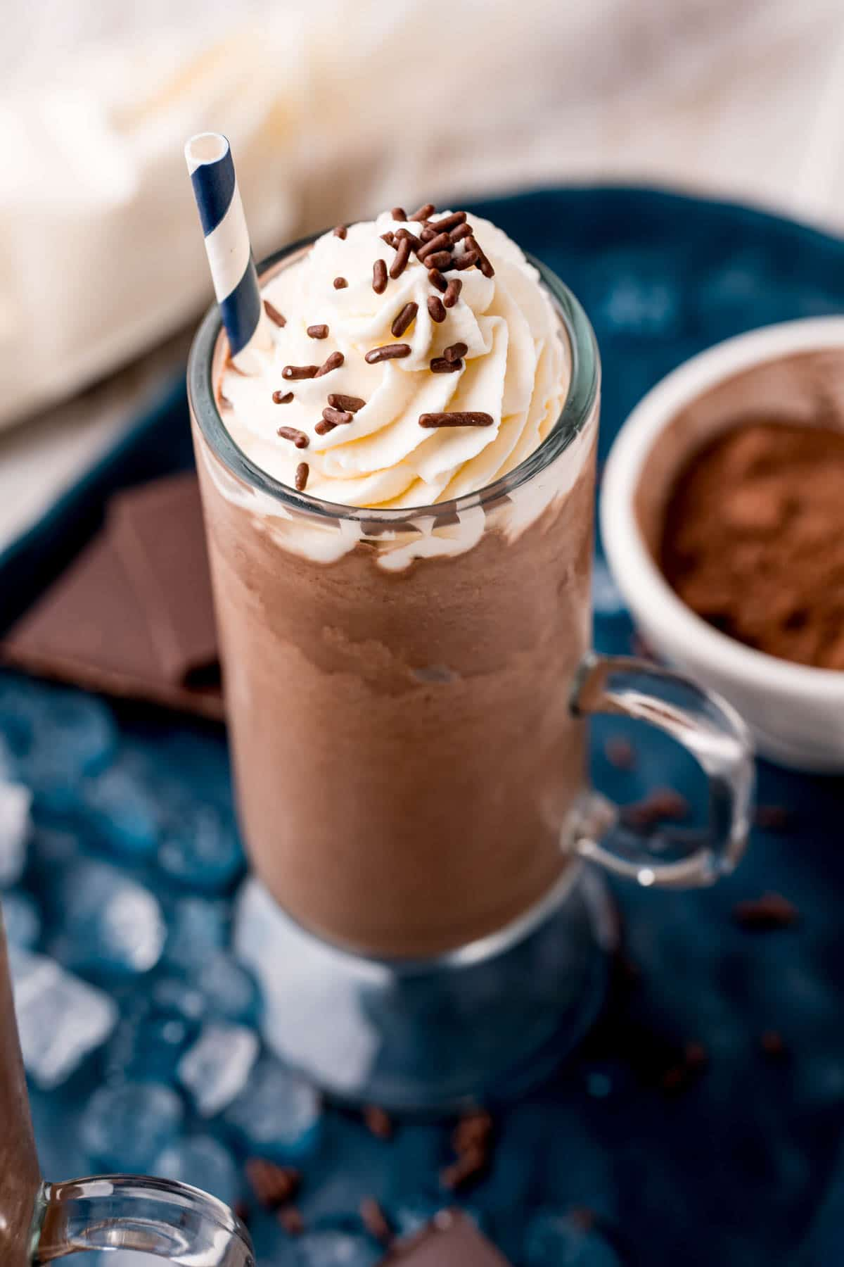 glass of frozen hot chocolate with hot cocoa mix