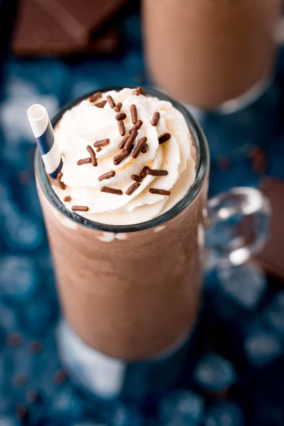 Frozen hot chocolate topped with whipped cream
