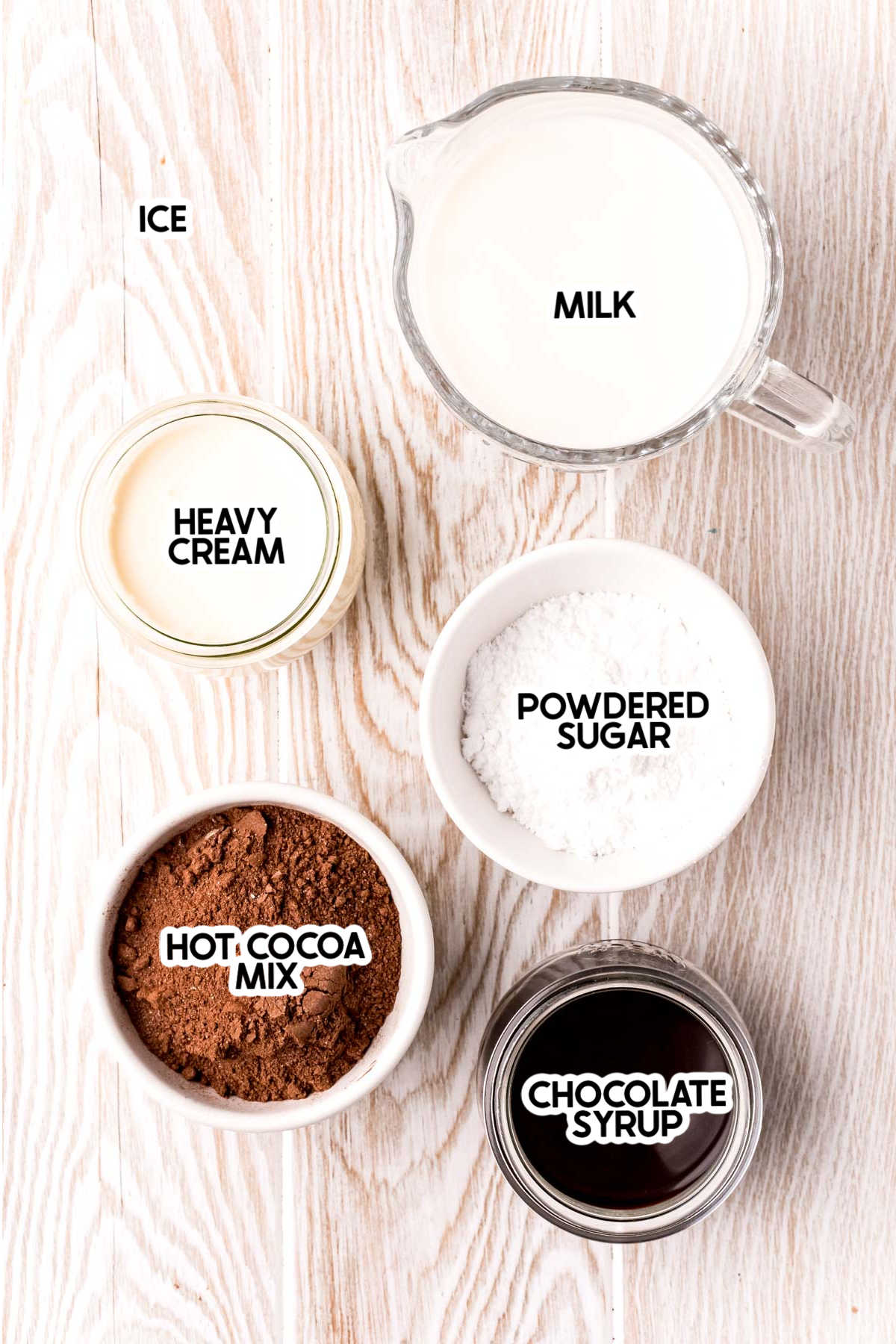 ingredients for frozen hot chocolate with labels