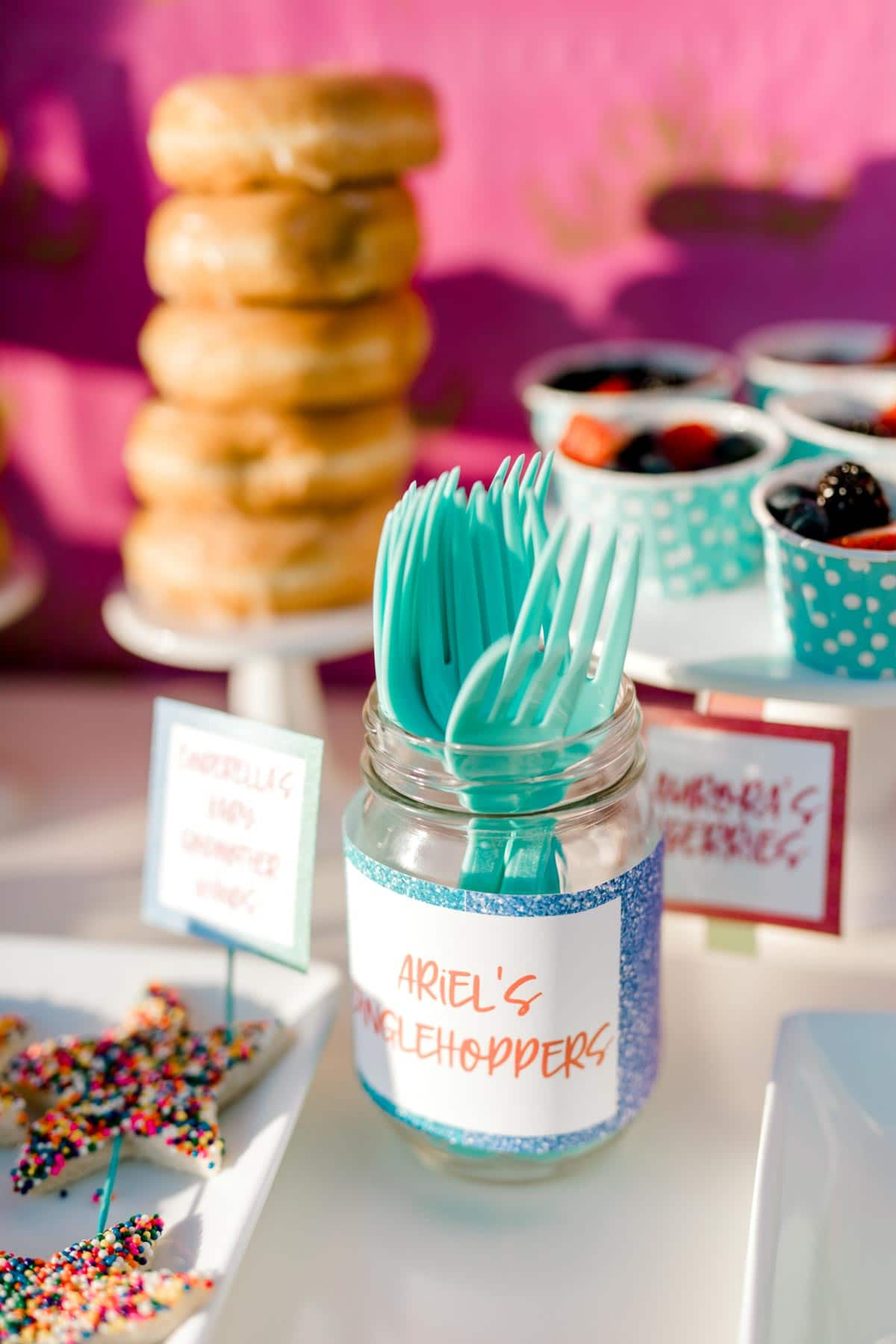 glass jar with turquoise forks