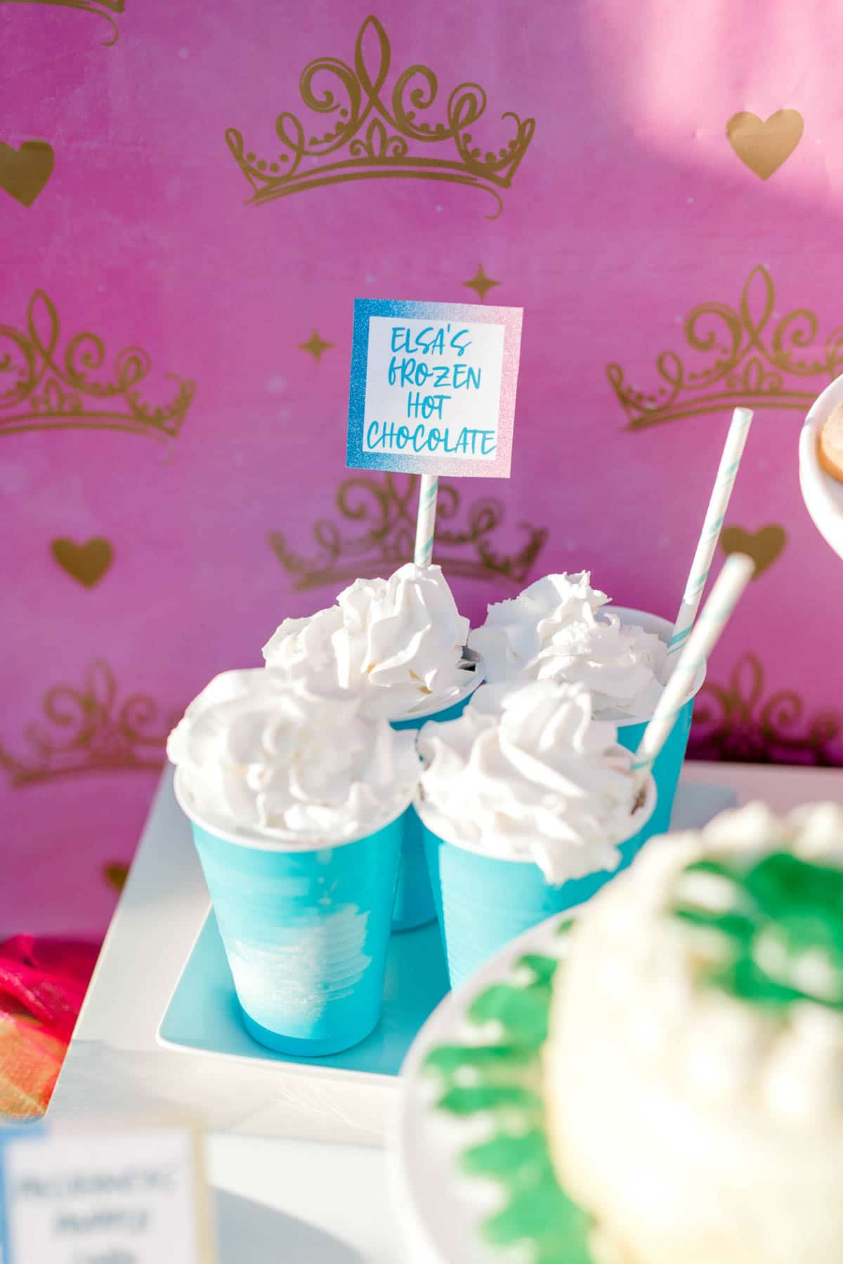 blue glasses with whipped cream