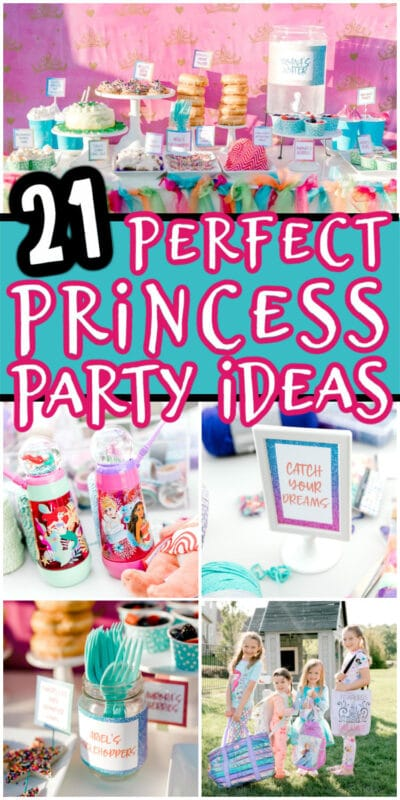 collage of princess party ideas with a label for pinterest