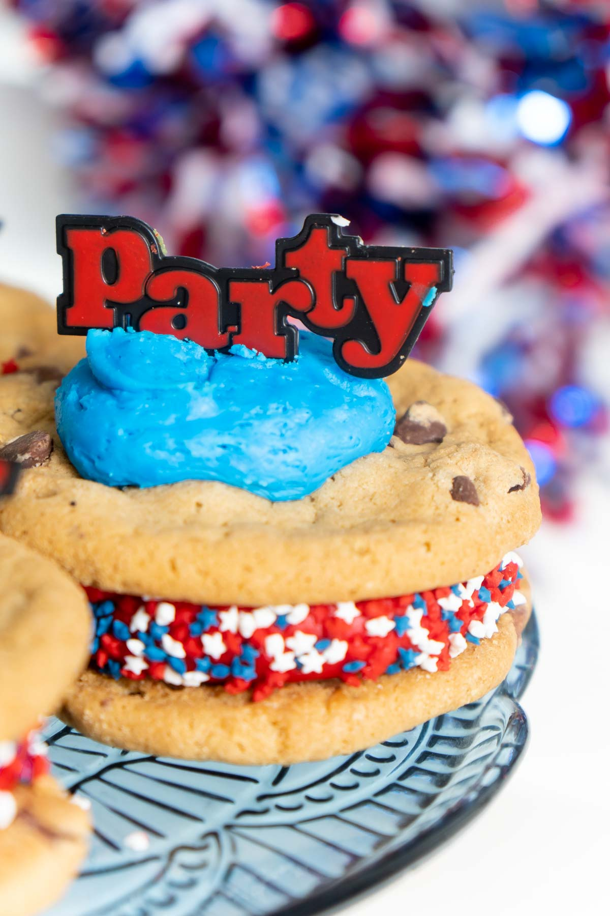 chocolate chip cookie sandwich with party sign