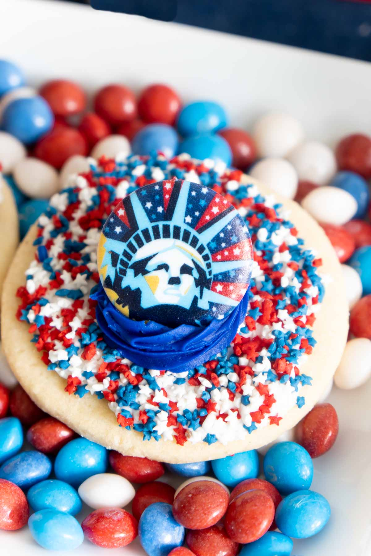4th of July cookie on top of 4th of July skittles