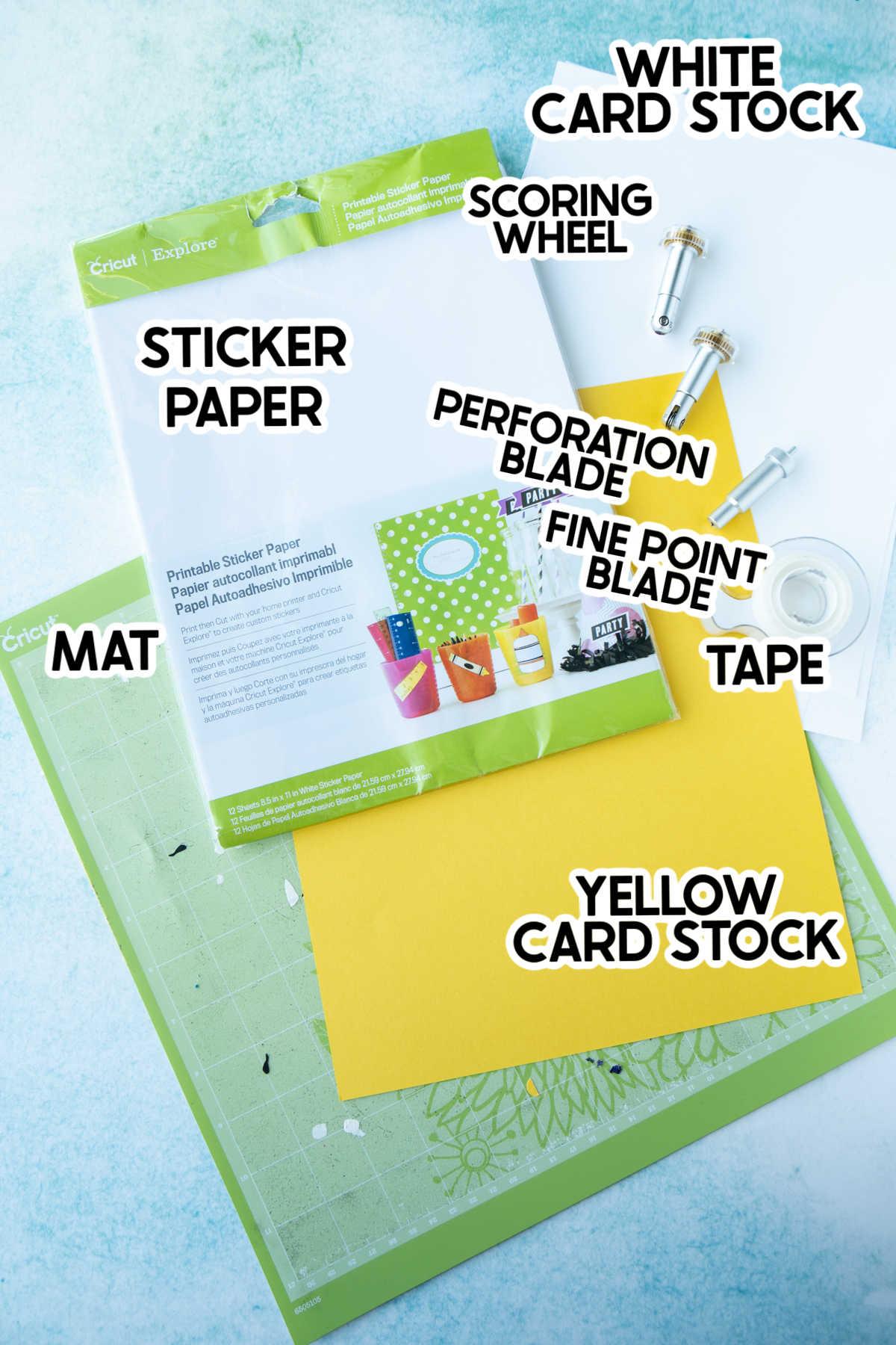 Cricut paper and tools