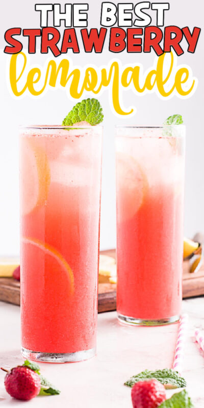 two glasses of strawberry lemonade with text for Pinterest