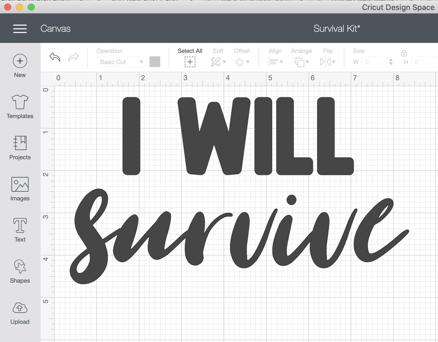 I will survive text in Cricut Design Space