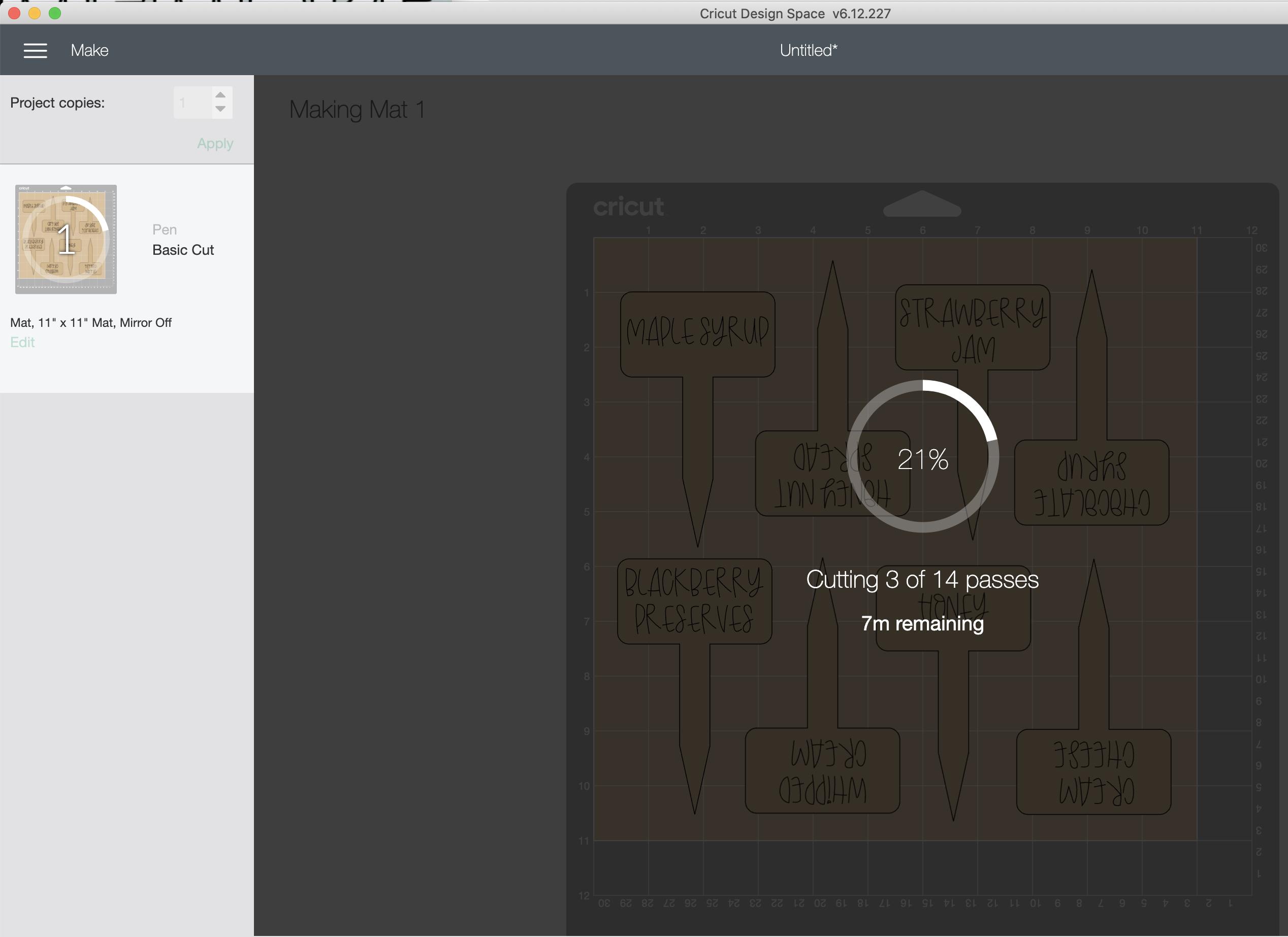 Cricut Design Space screenshot showing how many cuts