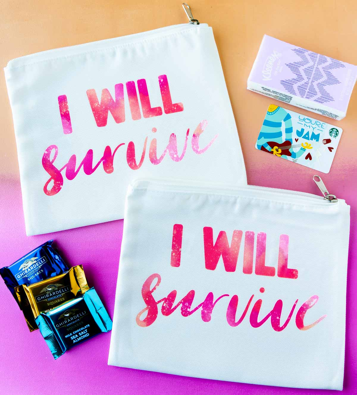 back to school survival kit with a colored background