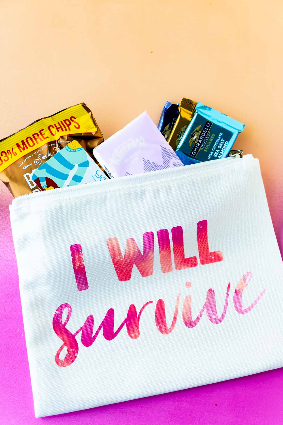 cosmetic bag with I will survive on it