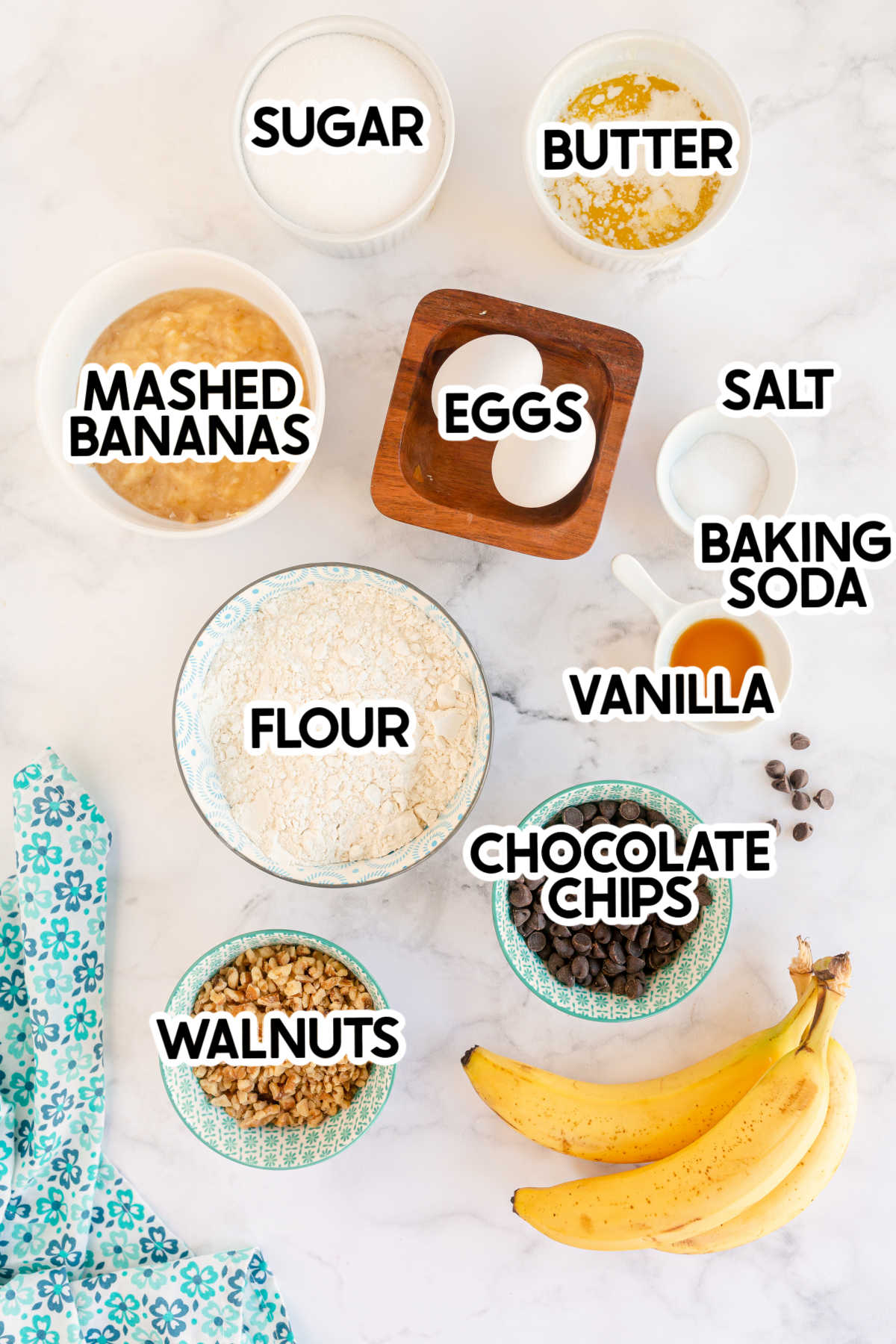ingredients for banana chocolate chip muffins