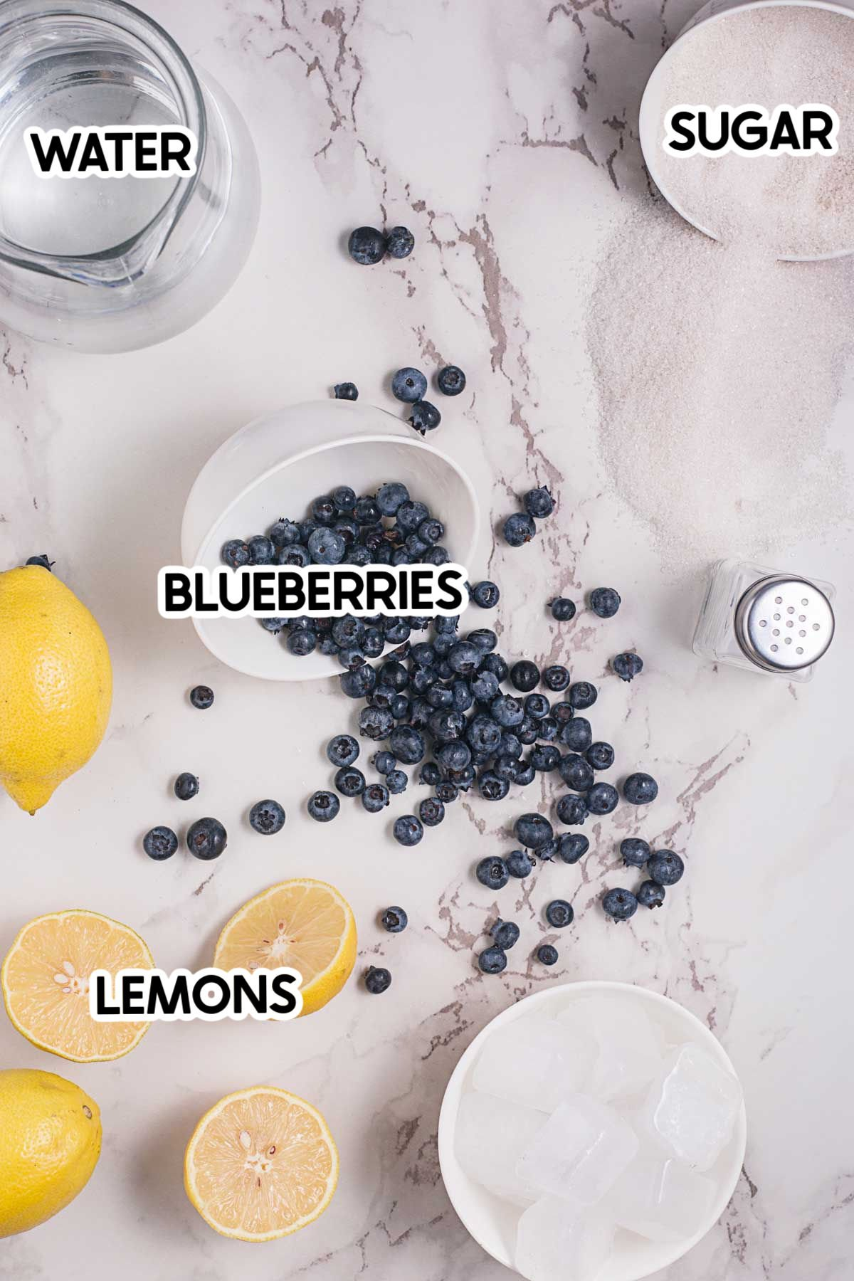 ingredients for blueberry lemonade with labels