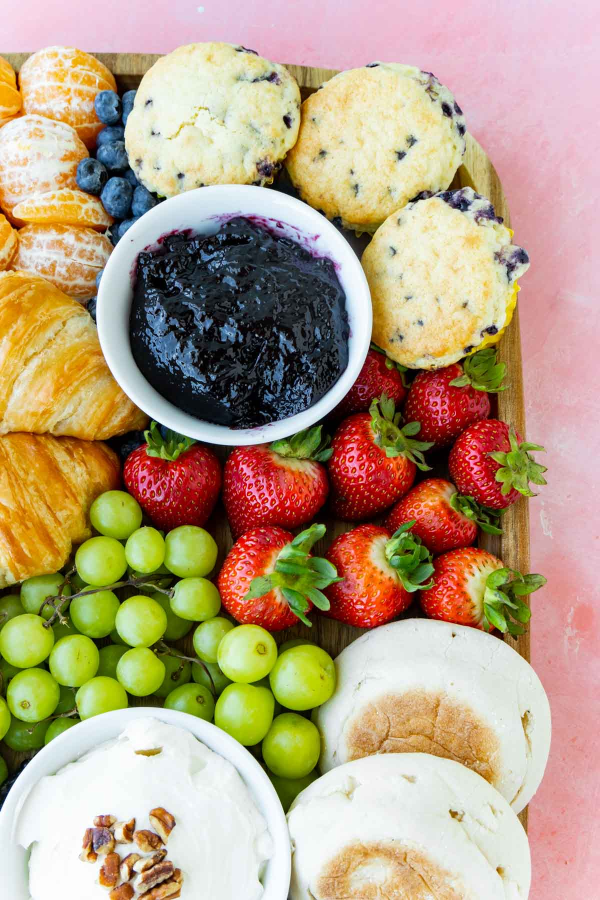 close up view of a breakfast charcuterie board