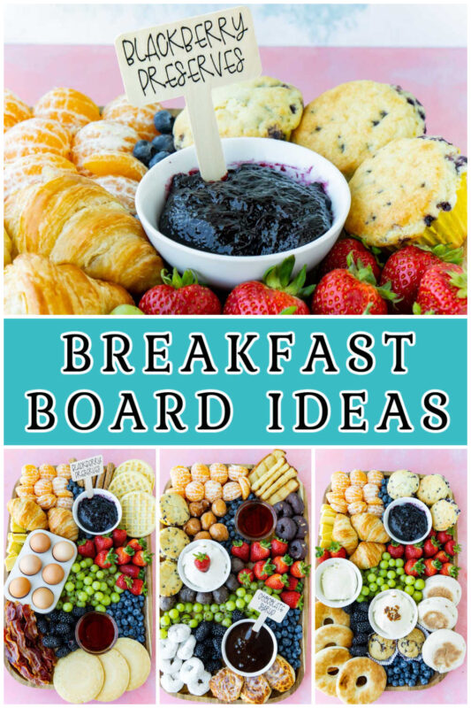 A collage of images of breakfast board ideas
