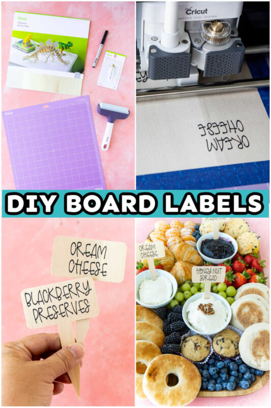 Step by step images of how to make DIY cheese board labels