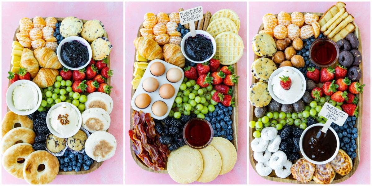 Three breakfast charcuterie board ideas in a collage