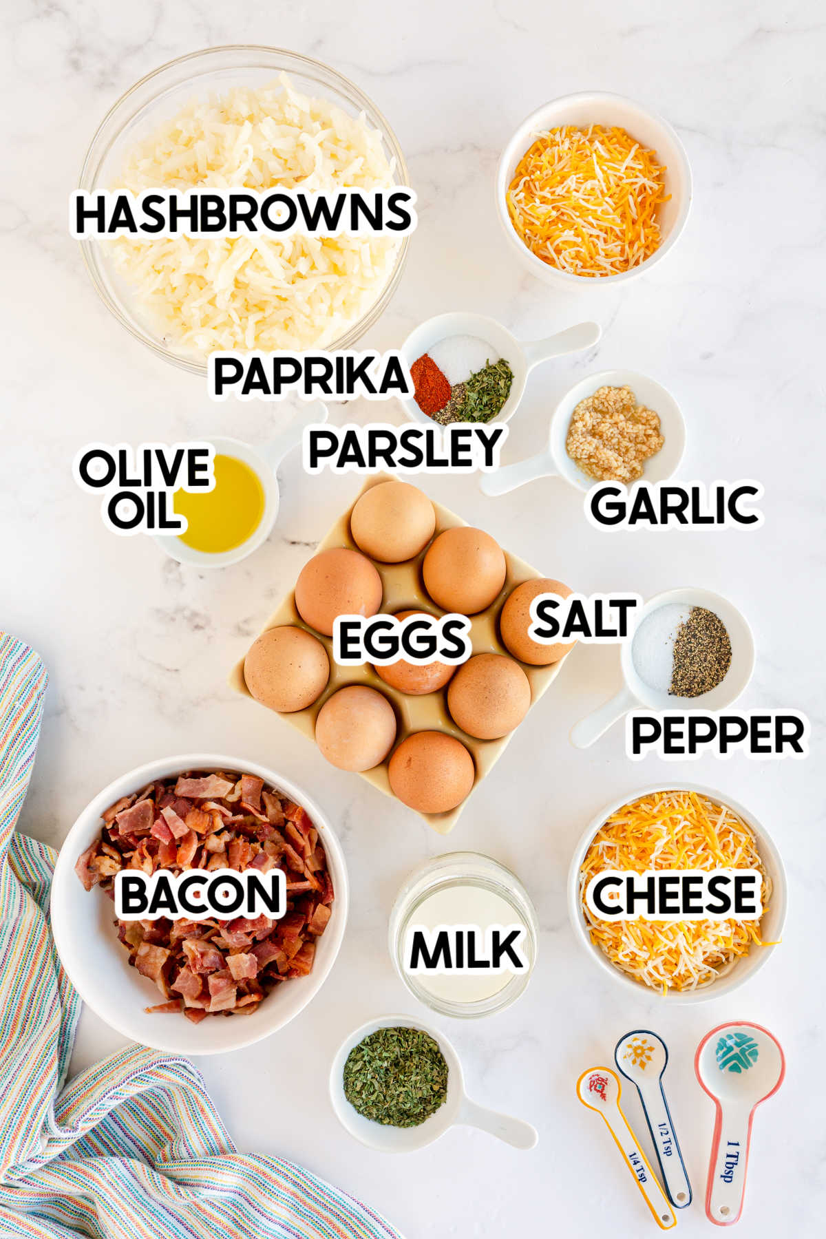 ingredients for breakfast muffins with labels
