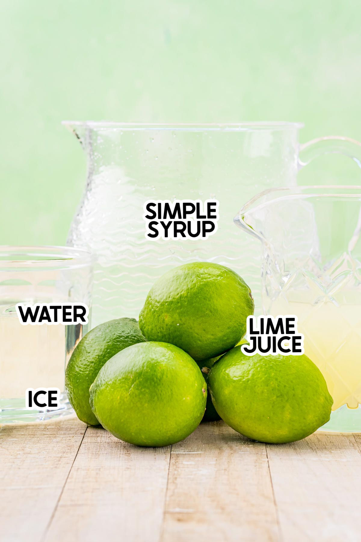 ingredients for homemade limeade with labels