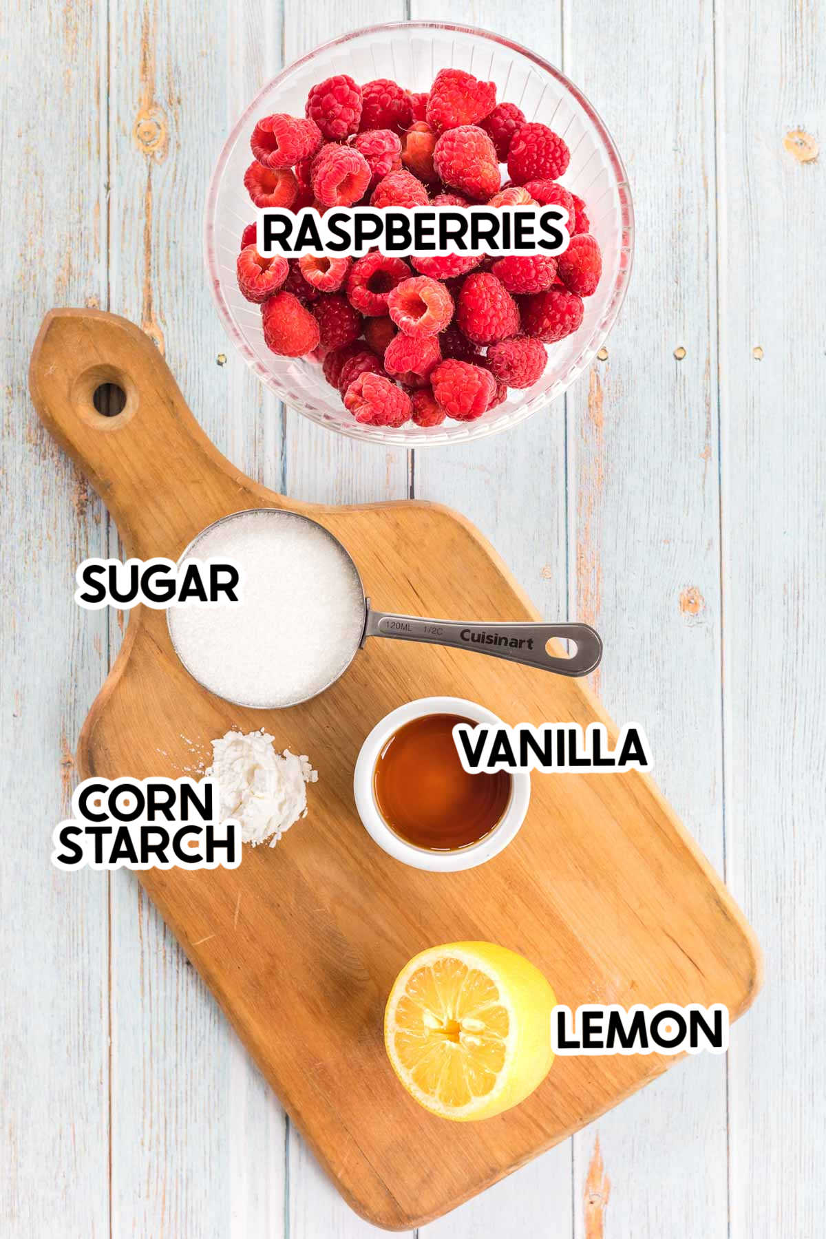 ingredients for raspberry sauce with labels