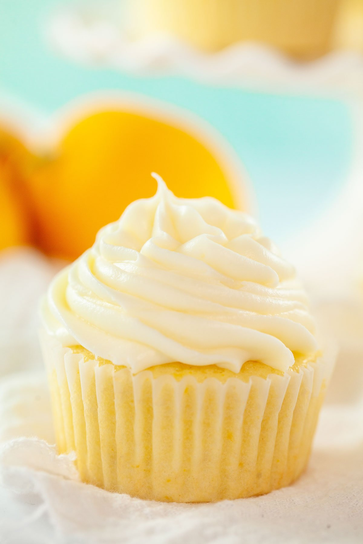 lemon cupcake with cream cheese frosting