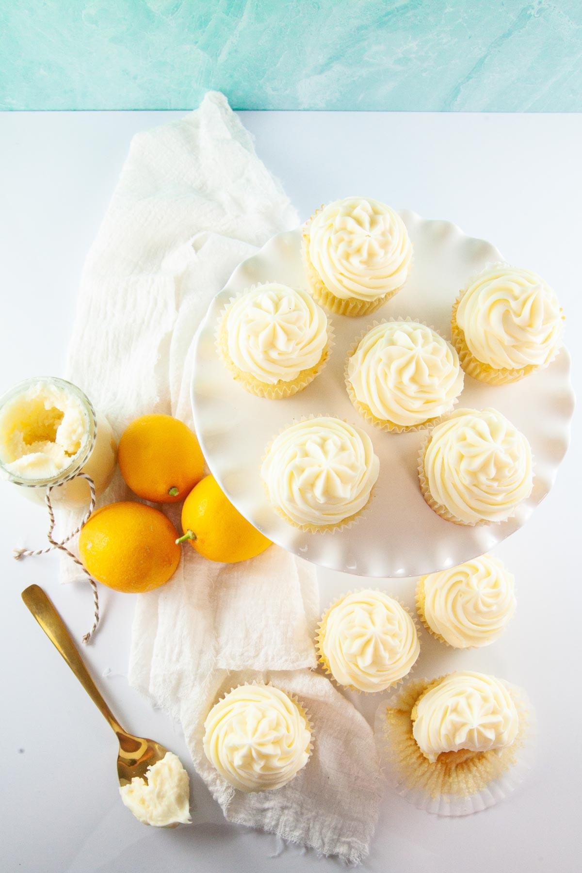 lemon cupcakes and fresh lemons