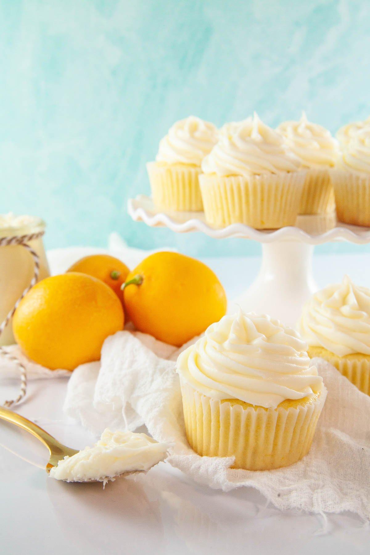 cake stand with lemon cupcakes