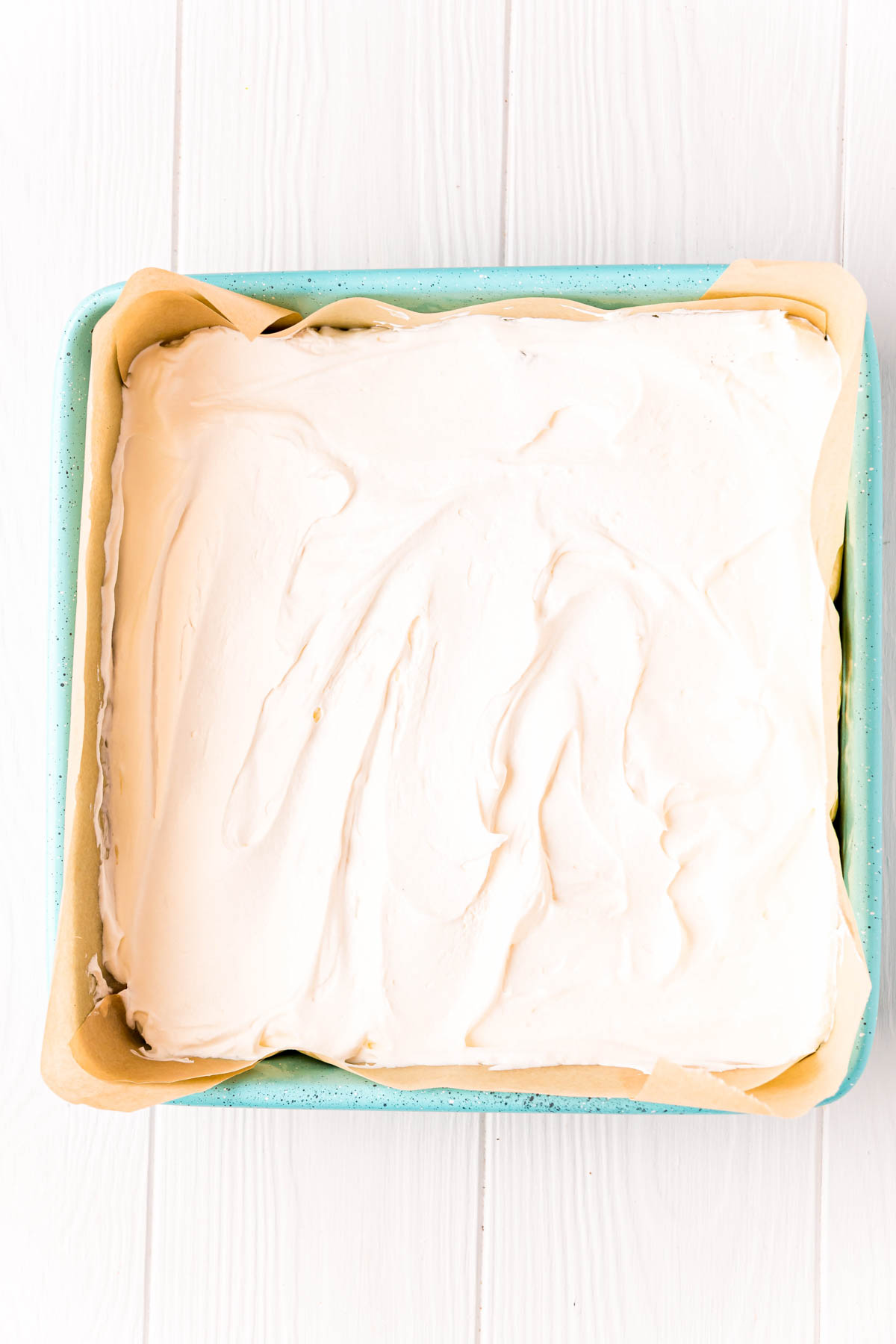 Cool Whip layer in a square pan