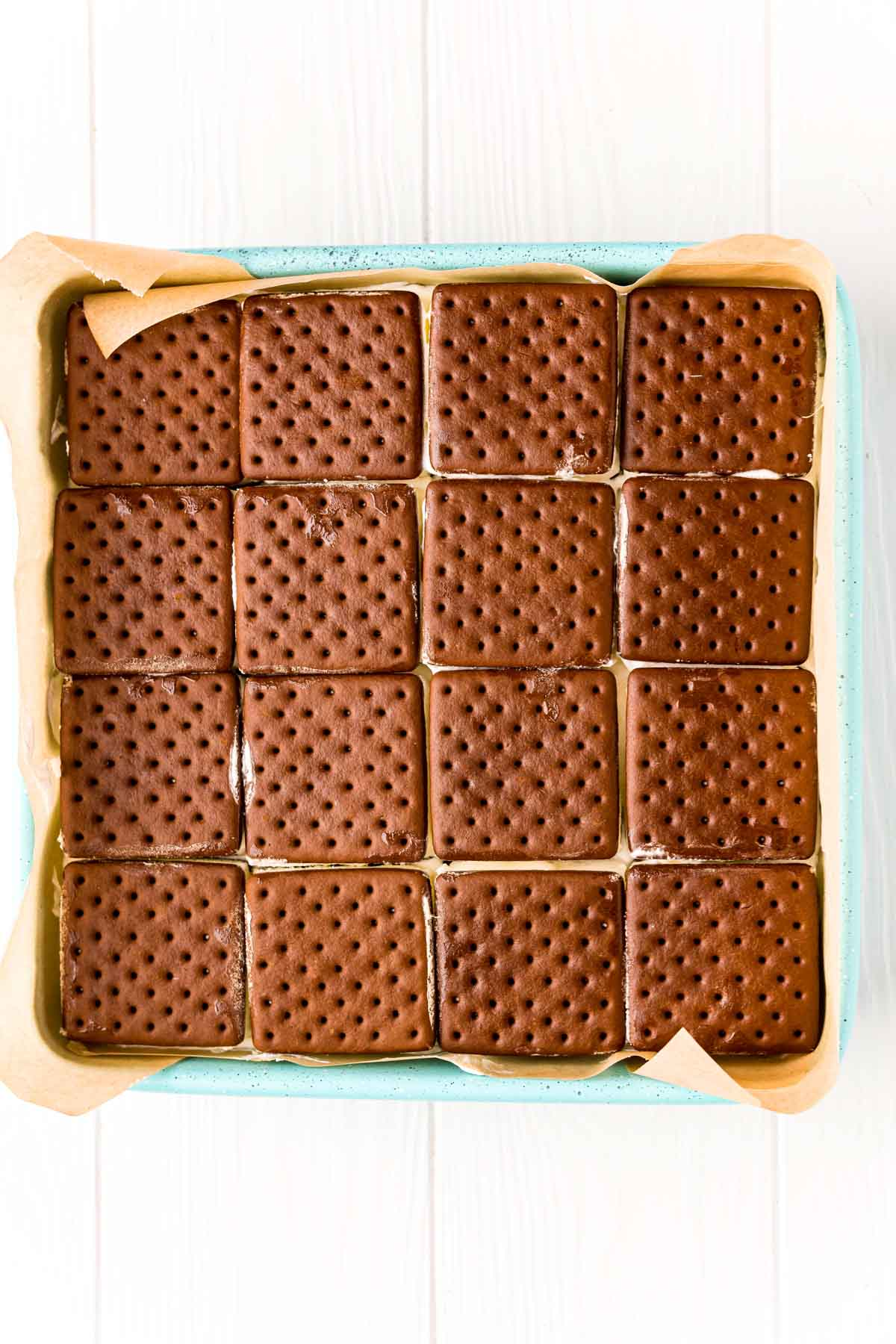 ice cream sandwiches in a square pan