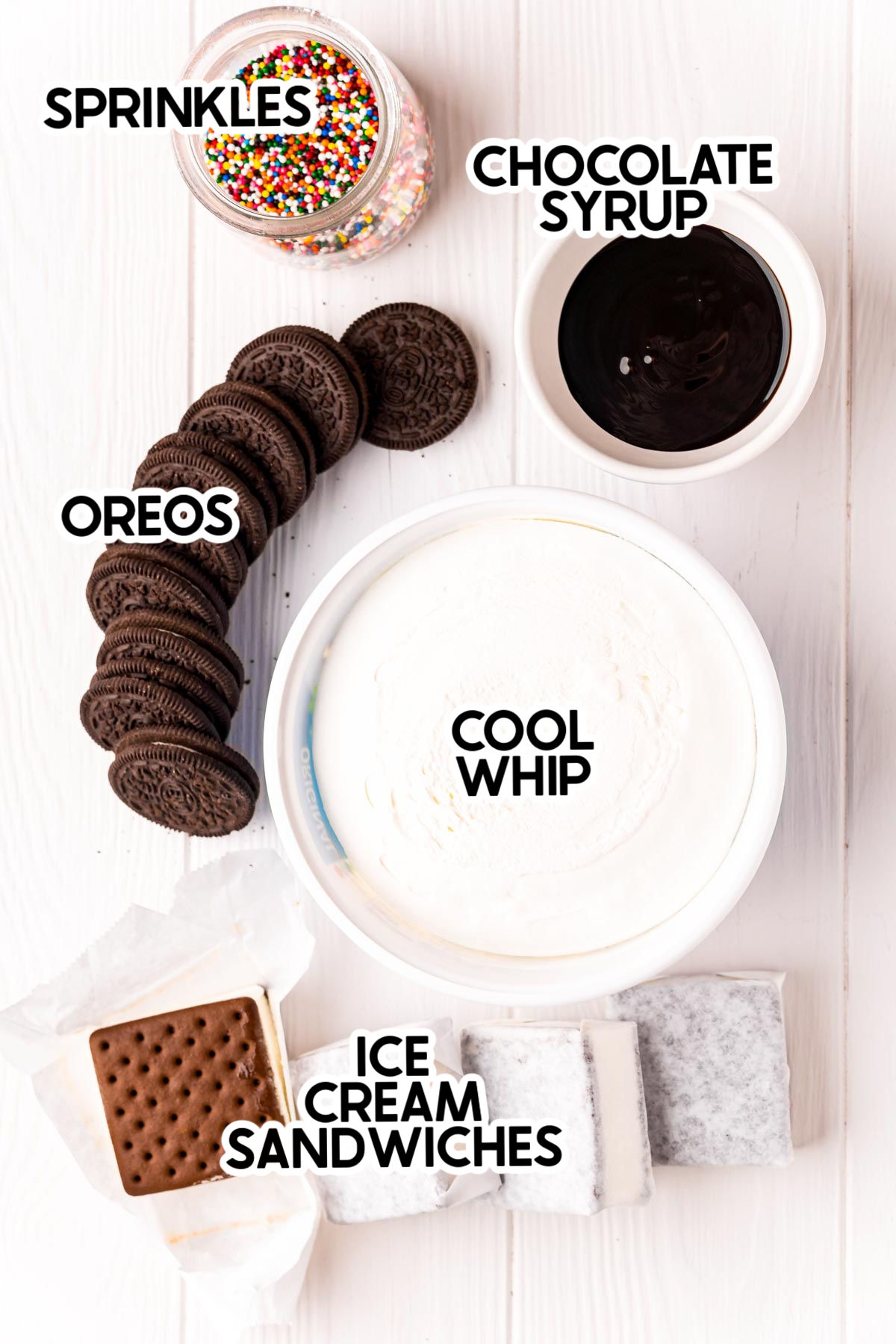 ingredients to make Oreo ice cream cake with labels
