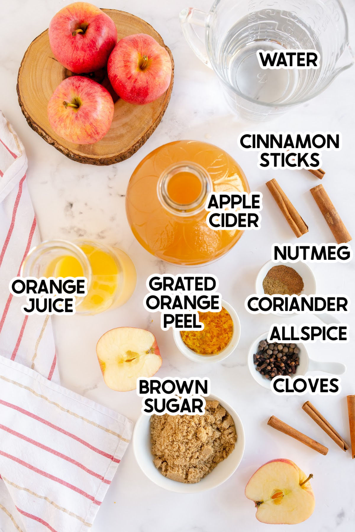 spiced apple cider ingredients with labels